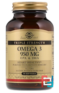 Triple Strength Omega-3, EPA & DHA, Solgar, 950 mg, 50 Softgels