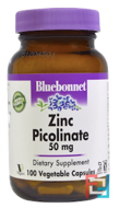 Zinc Picolinate, Bluebonnet Nutrition, 50 mg, 100 Veggie Caps