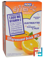 Effer-C, Electrolytes, Effervescent Drink Mix, Now Foods, 30 packets, 225 g