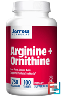 Arginine + Ornithine, Jarrow Formulas, 750 mg, 100 tablets