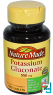 Potassium Gluconate, Nature Made, 550 mg, 100 Tablets