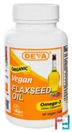 Vegan, Flaxseed Oil, Omega-3, Deva, 90 Vegan Caps