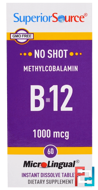 Methylcobalamin B-12, 1000 mcg, Superior Source, 60 MicroLingual Instant Dissolve Tablets