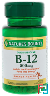 B-12, Natural Cherry Flavor, 500 mcg, Nature's Bounty, 100 Quick Dissolve Tablets