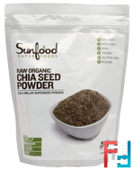 Chia Seed Powder, Raw Organic, Sunfood, 1 lb (454 g)