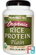 Raw Organic Rice Protein, Plain, NutriBiotic, 1 lb, 600 g