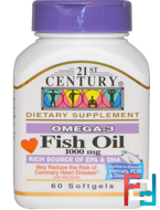 Fish Oil, 21st Century, 1000 mg, 60 Softgels