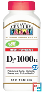 Vitamin D3 High Potency, 21st Century, 1000 IU, 500 Tablets