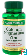 Calcium Magnesium Zinc, Nature's Bounty, 100 Coated Caplets