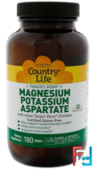 Magnesium Potassium Aspartate, Country Life, 180 Tablets