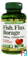 Fish, Flax, Borage, Omega 3-6-9, 1,200 mg, Nature's Bounty, 72 Softgels