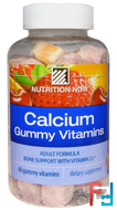 Calcium Gummy Vitamins, Adult Formula, Orange, Cherry & Strawberry, Nutrition Now, 60 Gummy Vitamins