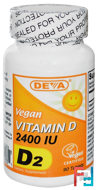 Vegan, Vitamin D, D2, 2400 IU, Deva, 90 Tablets