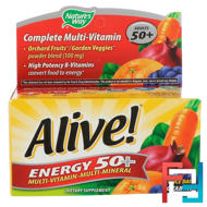Alive!, Energy 50+, Multivitamin-Multimineral, For Adults 50+, Nature's Way, 60 Tablets