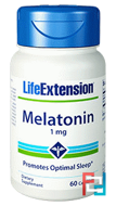 Melatonin, Life Extension, 1 mg, 60 Capsules