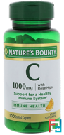 Vitamin C-1000 Plus Rose Hips, Nature's Bounty, 100 Coated Caplets