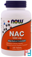 NAC, Now Foods, 1000 mg, 120 Tablets
