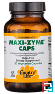 Maxi-Zyme Caps, Country Life, 120 Vegetarian Capsules