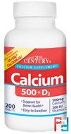 Calcium 500 + D3, 21st Century, 200 Tablets