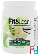 Fat Burning Meal Replacement, Vanilla Ice Cream, Fit & Lean, 0.97 lb (440 g)