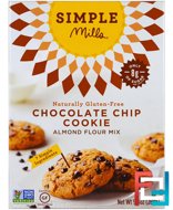 Naturally Gluten-Free, Almond Flour Mix, Chocolate Chip Cookie, Simple Mills, 9.4 oz (265 g)