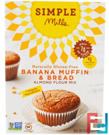 Naturally Gluten-Free, Almond Flour Mix, Banana Muffin & Bread, Simple Mills, 9 oz (255 g)