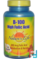 B-100, High Folic Acid, Nature's Life, 100 Capsules