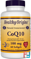 CoQ10, Kaneka Q10, Healthy Origins, 100 mg, 60 Softgels