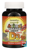 Vitamin D3, Animal Parade, Source of Life, Nature's Plus, Natural Black Cherry Flavor, 500 IU, 90 Animals