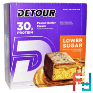 Whey Protein Bars, Peanut Butter Cream, Detour, 12 Bars, 3 oz (85 g) Each