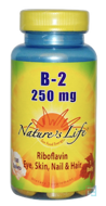 B-2 Riboflavin, 250 mg, Nature's Life, 100 Tablets
