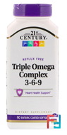 Triple Omega Complex 3-6-9, 21st Century, 90 Enteric Coated Softgels