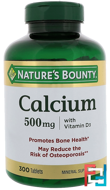 Calcium with Vitamin D3, 500 mg, Nature's Bounty, 300 Tablets