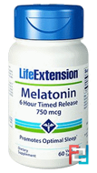 Melatonin, 6 Hour Timed Release, Life Extension, 750 mcg, 60 Veggie Tabs
