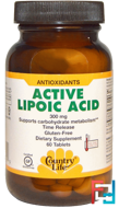 Active Lipoic Acid, Country Life, 300 mg, 60 Tablets