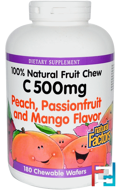 C 500 mg, Peach, Passionfruit and Mango Flavor, Natural Factors, 180 Chewable Wafers