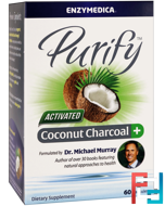 Purify, Activated Coconut Charcoal+, Enzymedica, 60 Capsules
