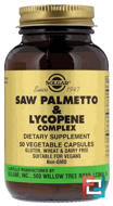 Saw Palmetto & Lycopene Complex, Solgar, 50 Vegetable Capsules