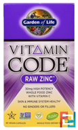 Vitamin Code, Raw Zinc, Garden of Life, 60 Veggie Caps