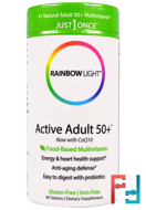 Active Adult 50+, Food-Based Multivitamin, Rainbow Light, Just Once, 90 Tablets