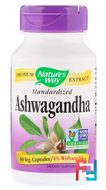 Ashwagandha, Standardized, Nature's Way, 60 Veggie Caps