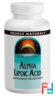 Alpha Lipoic Acid, 50 mg, Source Naturals, 100 Tablets