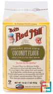 Organic High Fiber Coconut Flour, Gluten Free, Bob's Red Mill, 16 oz (453 g)