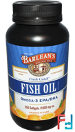 Fresh Catch, Fish Oil Supplement, Omega-3 EPA/DHA, Orange Flavor, 1000 mg, Barlean's, 250 Softgels