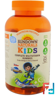Kids, Complete Multivitamin Gummies, Miles from Tomorrowland, Grape, Orange & Cherry, Sundown Naturals Kids, 180 Gummies