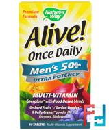 Alive! Once Daily, Men's 50+, Multi-Vitamin, Nature's Way, 60 Tablets