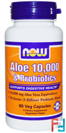 Aloe 10,000 & Probiotics, Now Foods, 60 Veg Capsules