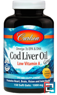 Cod Liver Oil Gems, Low Vitamin A, Natural Lemon Flavor, Carlson Labs, 1,000 mg, 150 Soft Gels