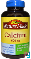 Calcium with Vitamin D3 400 IU, Nature Made, 600 mg, 100 Softgels