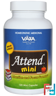 Attend Mini, Attention and Focus Formula, Vaxa International, 120 Mini Capsules